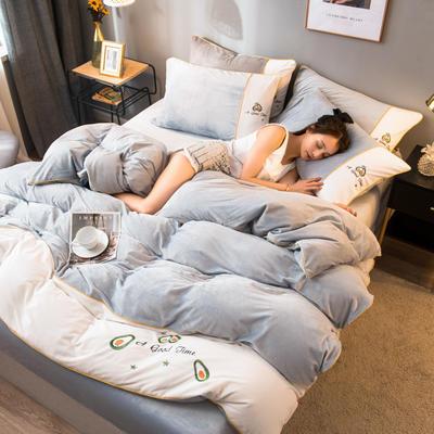 2020新款水晶绒拼色系列四件套 1.8m床单款四件套 银灰色
