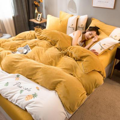 2020新款水晶绒拼色系列四件套 1.8m床单款四件套 柚黄色