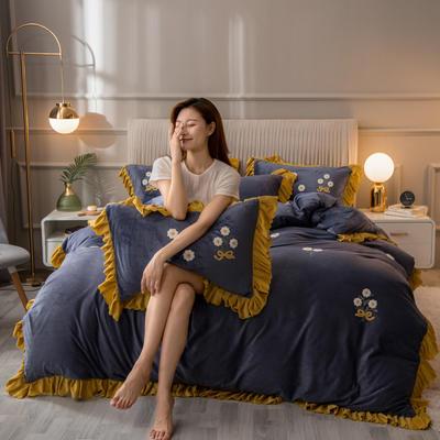 2020新款韩式水晶绒系列四件套 1.8m床单款四件套 藏蓝色
