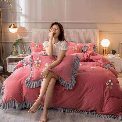 2020新款韩式水晶绒系列四件套 1.8m床单款四件套 胭脂粉