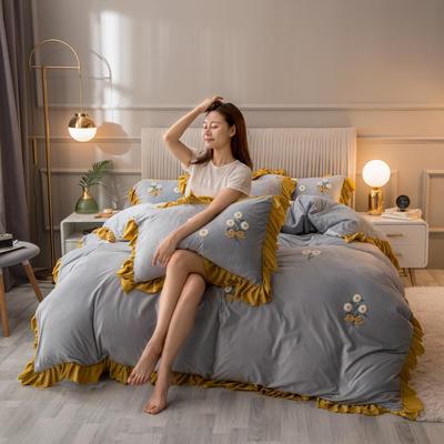 2020新款韩式水晶绒系列四件套 1.8m床单款四件套 银灰色