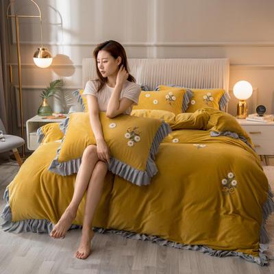 2020新款韩式水晶绒系列四件套 1.8m床单款四件套 柚黄色