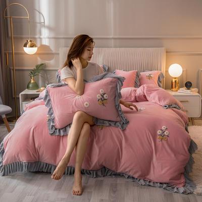 2020新款韩式水晶绒系列四件套 1.8m床单款四件套 玉粉色
