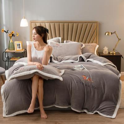 2020新款牛奶绒被套兼毛毯轻奢两用毯 180cmx220cm 纯色卡其