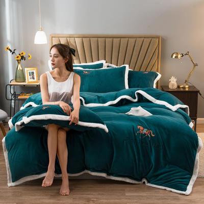 2020新款牛奶绒被套兼毛毯轻奢两用毯 180cmx220cm 纯色墨绿