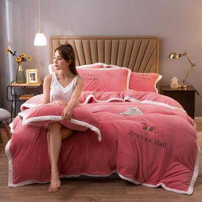 2020新款牛奶绒被套兼毛毯轻奢两用毯 180cmx220cm 纯色胭脂粉