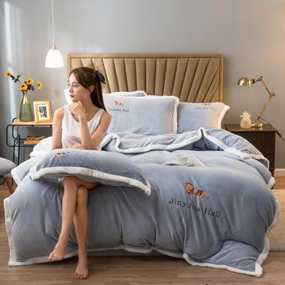 2020新款牛奶绒被套兼毛毯轻奢两用毯 180cmx220cm 纯色银灰