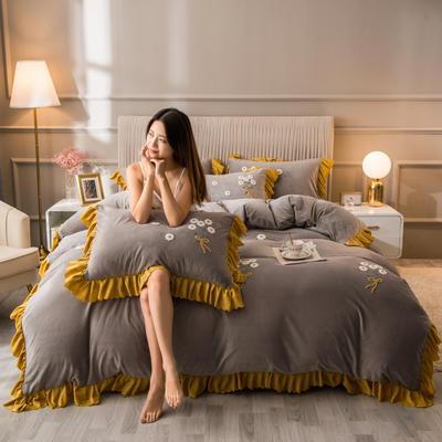 2020新款水晶绒韩版四件套 1.8m床单款四件套 深灰