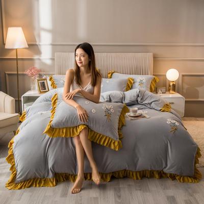 2020新款水晶绒韩版四件套 1.8m床单款四件套 银灰