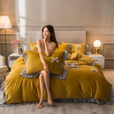 2020新款水晶绒韩版四件套 1.8m床单款四件套 柚黄