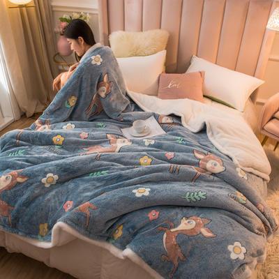 2020新款牛奶绒被套兼毛毯轻奢两用毯 180cmx220cm 丛林小鹿