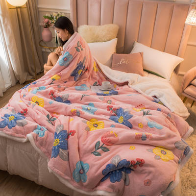 2020新款牛奶绒被套兼毛毯轻奢两用毯 180cmx220cm 粉色佳人