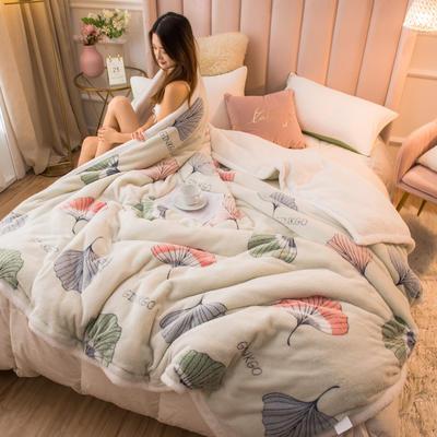 2020新款牛奶绒被套兼毛毯轻奢两用毯 180cmx220cm 枫叶情