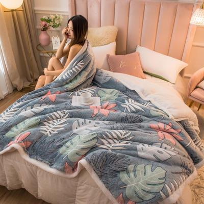 2020新款牛奶绒被套兼毛毯轻奢两用毯 180cmx220cm 叶叶幽香