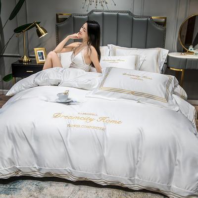 2021新款水洗真丝刺绣四件套—贝蒂金 1.8m床单款四件套 爵士白