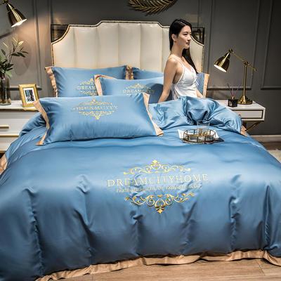 2021新款水洗真丝刺绣四件套—丝丽克 1.8m床单款四件套 宾利蓝