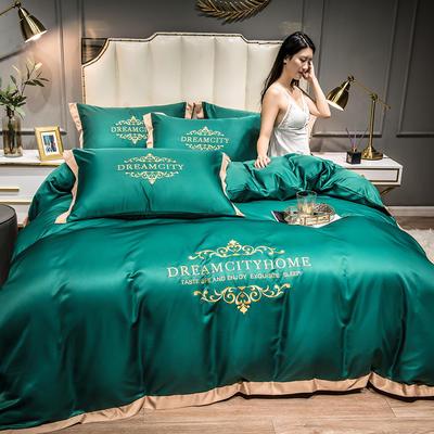2021新款水洗真丝刺绣四件套—丝丽克 1.8m床单款四件套 墨绿