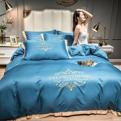 2021新款水洗真丝刺绣四件套—丝丽克 1.8m床单款四件套 月光蓝