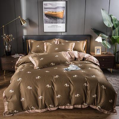 2021新品天丝柔印花系列四件套 1.8m床单款四件套 吉象如意咖