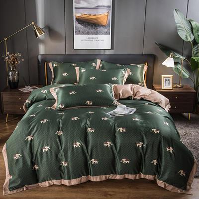 2021新品天丝柔印花系列四件套 1.8m床单款四件套 吉象如意墨绿