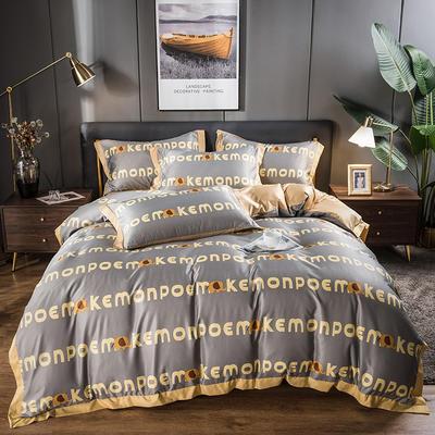 2021新品天丝柔印花系列四件套 1.8m床单款四件套 字母小象