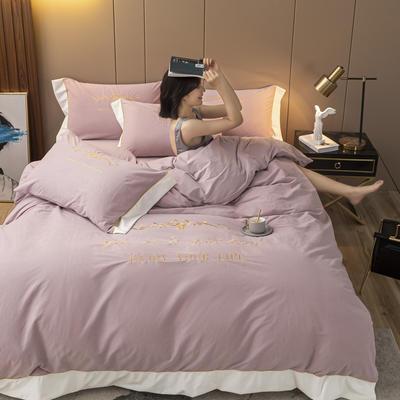 2020新款阳离子德绒四件套 1.8m床单款四件套 粉紫