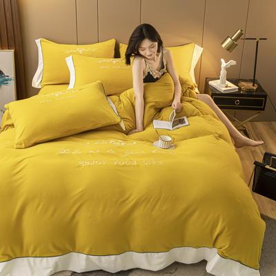2020新款阳离子德绒四件套 1.8m床单款四件套 明黄