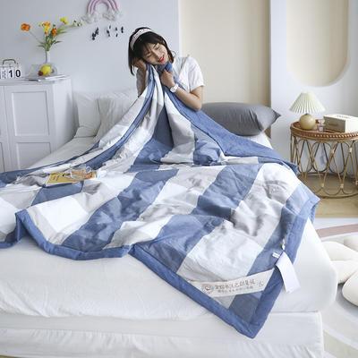 2021新款全棉水洗色织夏凉被 180x220cm 蓝大格