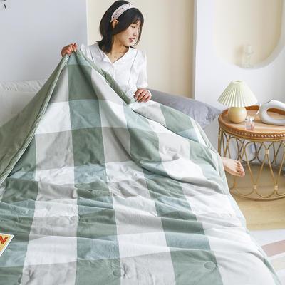 2021新款全棉水洗色织夏凉被 180x220cm 绿大格