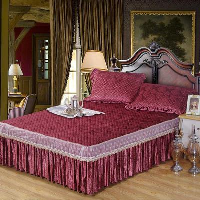雅祥家纺   欧式蕾丝夹棉单品床裙 180cmx200cm 华丽红妆