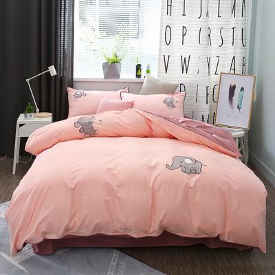 绣花工艺款四件套 1.8m(6英尺)床 粉色小象