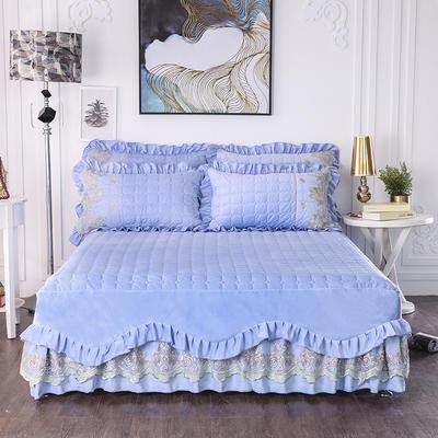 2018新款水晶绒床裙三件套-鱼尾裙系列 1.5m(三件套) 蓝色海洋