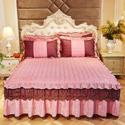 2018新款天鹅绒夹棉床裙 枕套/对48*74cm 水影
