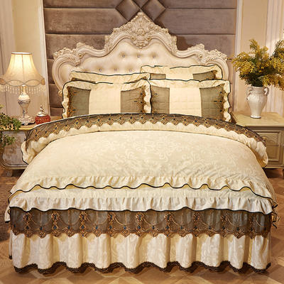 2018新款天鹅绒夹棉床裙保暖四件套 2.0m(6.6英尺)床 暖光