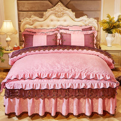 2018新款天鹅绒夹棉床裙保暖四件套 1.8m(6英尺)床 水影