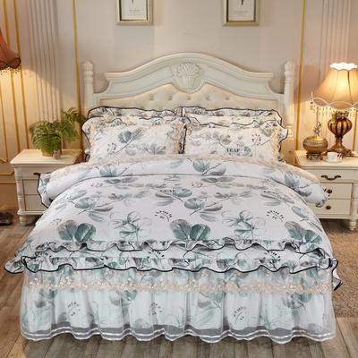 2019新款天丝花卉系列蕾丝夹棉床裙四件套 1.8m(6英尺)床 花开未央