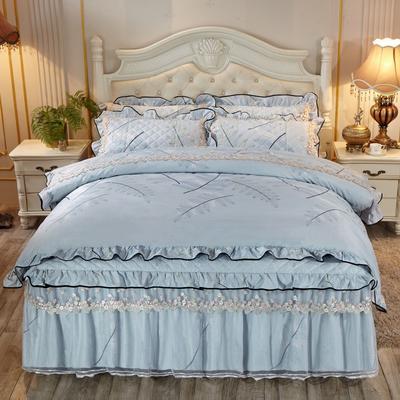 2019新款天丝花卉系列蕾丝夹棉床裙四件套 1.8m(6英尺)床 青木如夏