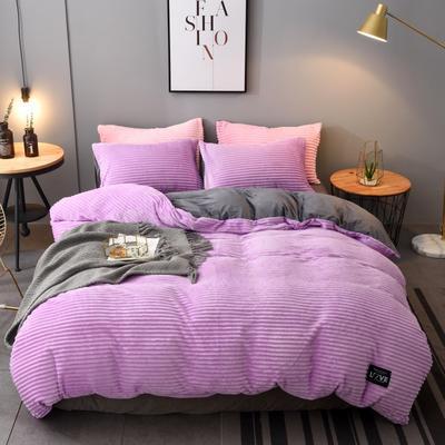2019新款A版魔法绒B版法莱绒四件套 1.8m床单款 魅力紫