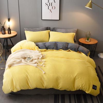 2019新款A版魔法绒B版法莱绒四件套 1.8m床单款 柠檬黄