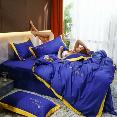 2020新款40支13372全棉系列宜家拼角刺绣绣花纯色工艺款四件套 1.8m床单款 宝石蓝