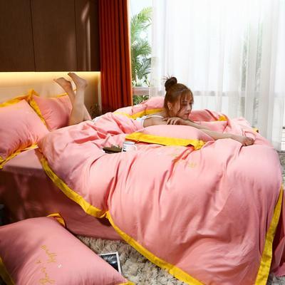 2021新款40支13372全棉系列宜家拼角刺绣绣花纯色工艺款四件套 1.8m床单款 甘玫瑰