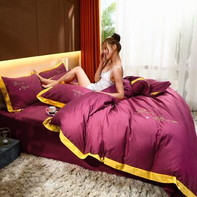 2021新款40支13372全棉系列宜家拼角刺绣绣花纯色工艺款四件套 1.8m床单款 海棠红