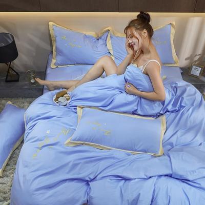2020新款40支13372全棉系列宜家拼角刺绣绣花纯色工艺款四件套 1.8m床单款 湖畔蓝