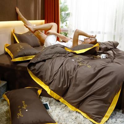 2021新款40支13372全棉系列宜家拼角刺绣绣花纯色工艺款四件套 1.8m床单款 巧克力