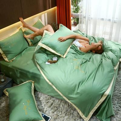 2021新款40支13372全棉系列宜家拼角刺绣绣花纯色工艺款四件套 1.8m床单款 鼠尾草