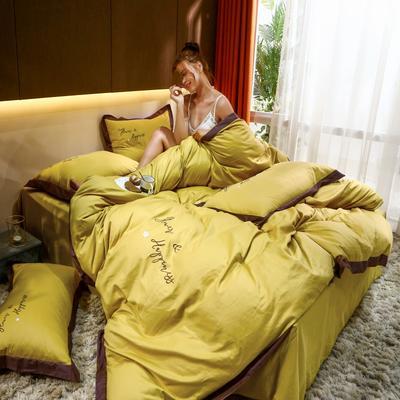 2021新款40支13372全棉系列宜家拼角刺绣绣花纯色工艺款四件套 1.8m床单款 藤黄