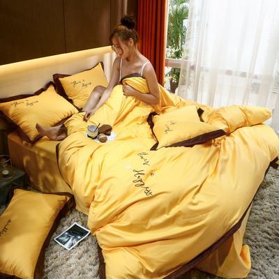2021新款40支13372全棉系列宜家拼角刺绣绣花纯色工艺款四件套 1.8m床单款 向日葵