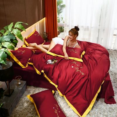 2020新款40支13372全棉系列宜家拼角刺绣绣花纯色工艺款四件套 1.8m床单款 胭脂红