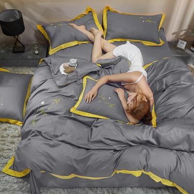 2021新款40支13372全棉系列宜家拼角刺绣绣花纯色工艺款四件套 1.8m床单款 中性灰