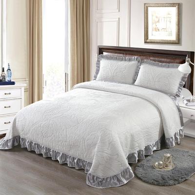 2020新款北欧风针织棉床盖三件套 230x245cm三件套 花香蜜语